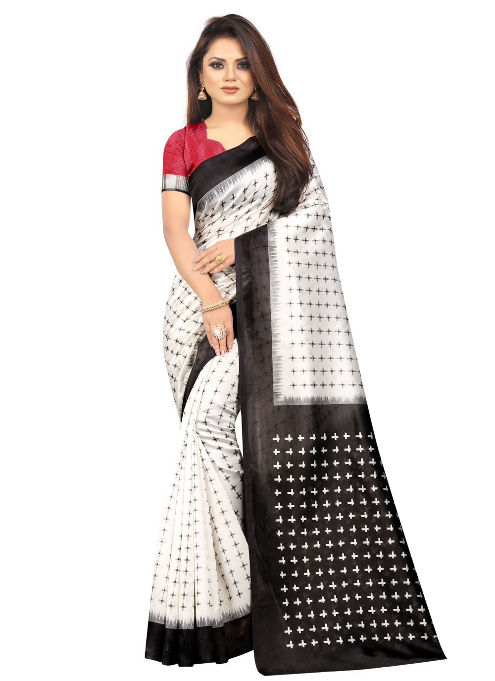 Silk Black and Off White Print Traditional Saree