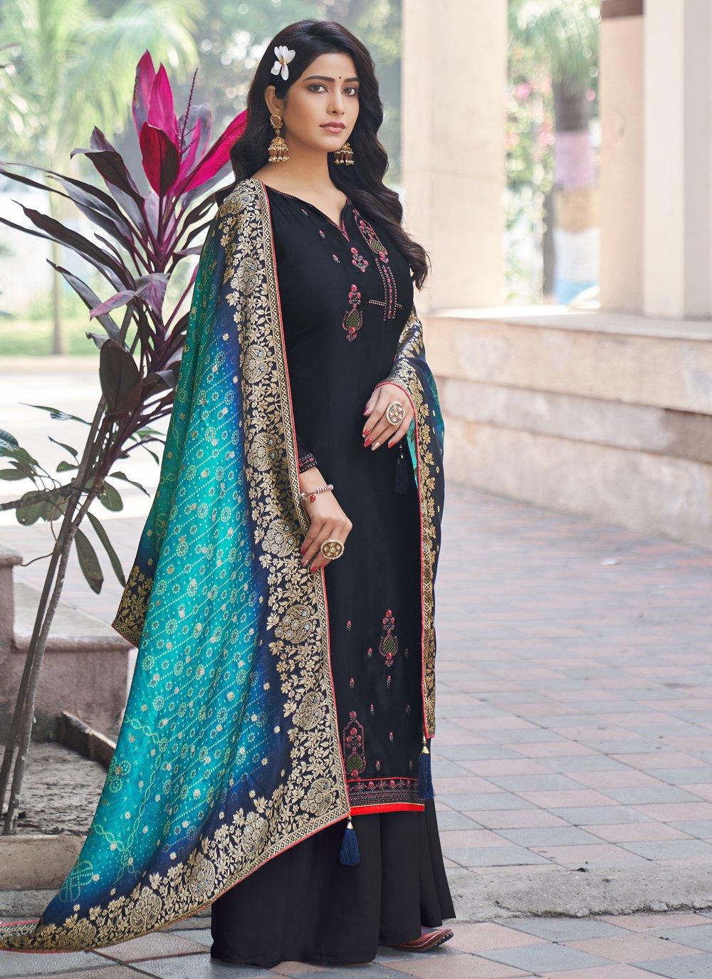 Silk Black Designer Palazzo Suit