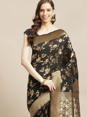 Silk Black Designer Traditional Saree