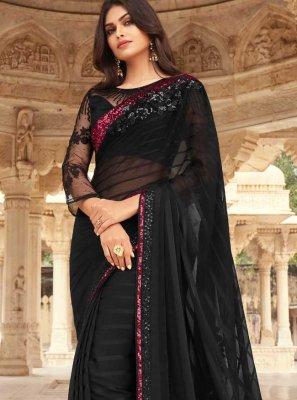 Silk Black Embroidered Designer Traditional Saree