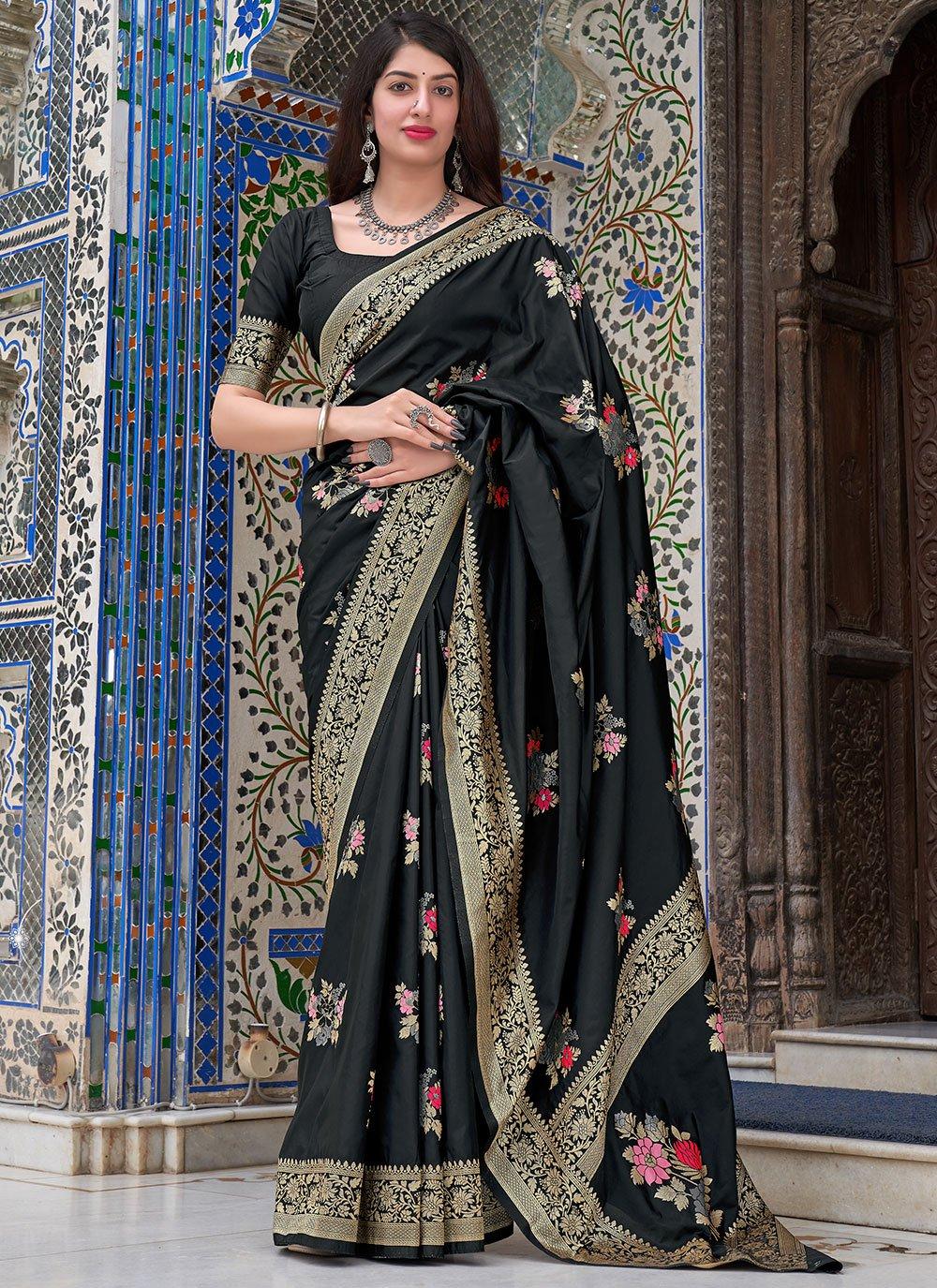Silk Black Woven Designer Traditional Saree