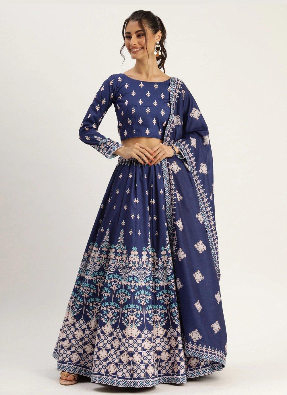 Silk Blue Designer Lehenga Choli