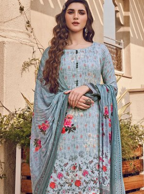 Silk Blue Designer Pakistani Suit