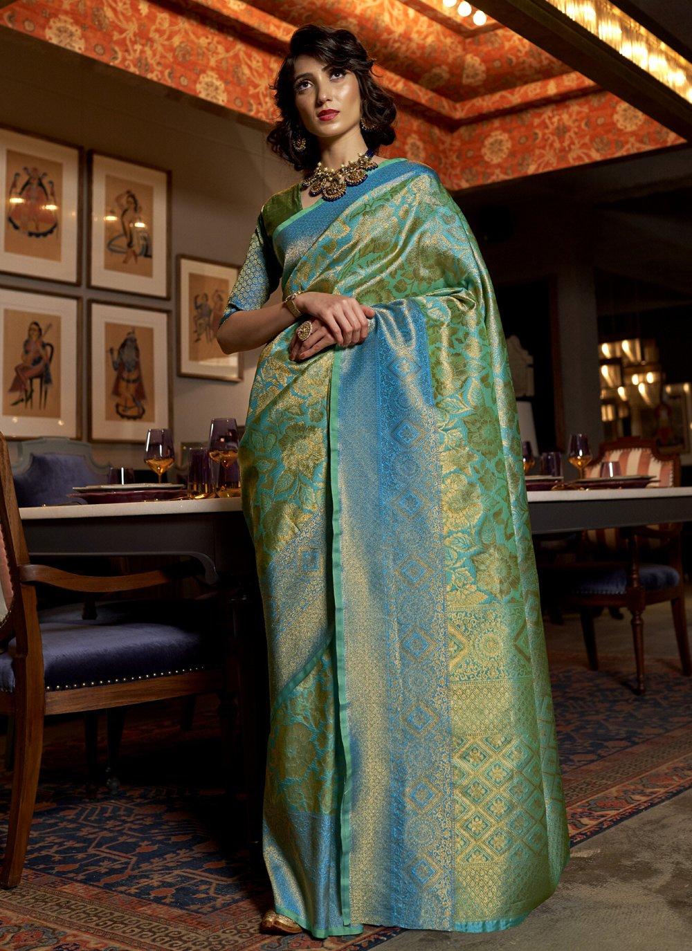 Silk Blue Designer Traditional Saree