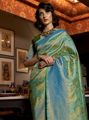 Silk Blue Designer Traditional Saree