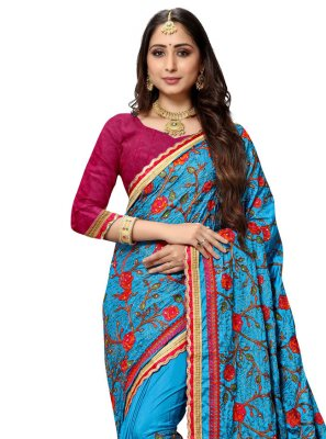 Silk Blue Embroidered Designer Traditional Saree
