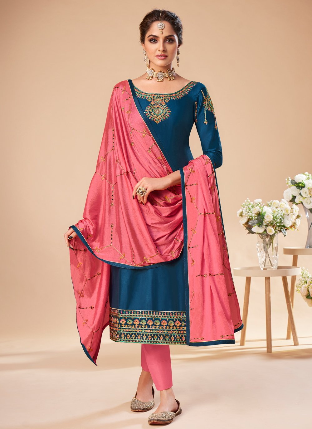 Silk Blue Embroidered Pant Style Suit