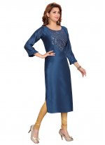Silk Blue Fancy Party Wear Kurti
