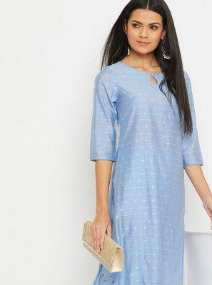 Silk Blue Fancy Party Wear Kurti