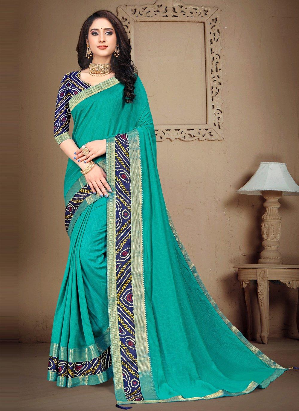 Silk Blue Lace Trendy Saree