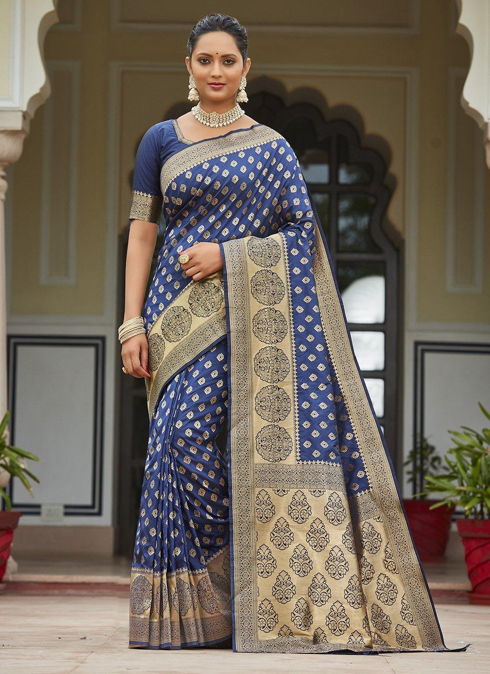 Silk Blue Traditional Saree