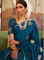 Silk Blue Weaving Designer Traditional Saree