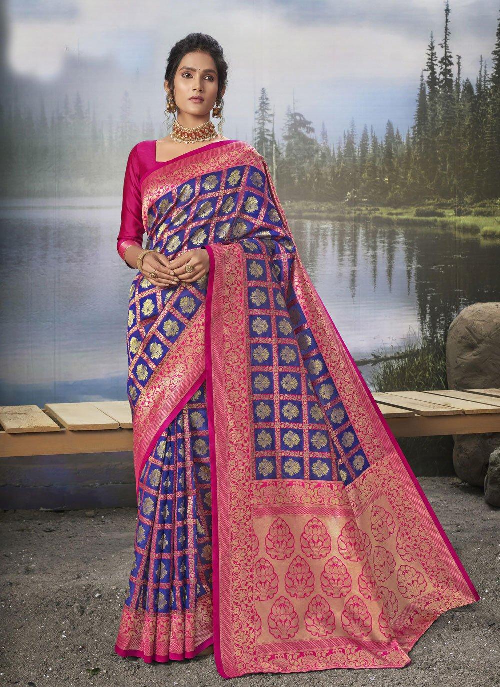 Silk Blue Weaving Traditional Designer Saree