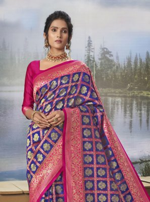 Silk Blue Weaving Traditional Designer Saree