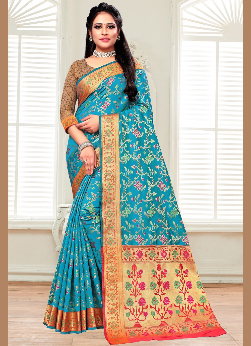 Silk Bollywood Saree in Aqua Blue