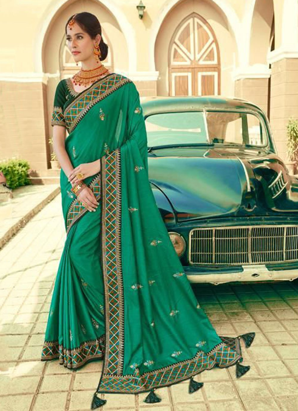 Silk Bollywood Saree in Green