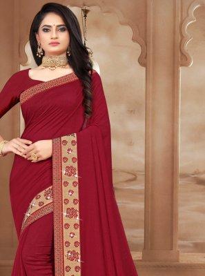 Silk Bollywood Saree in Maroon