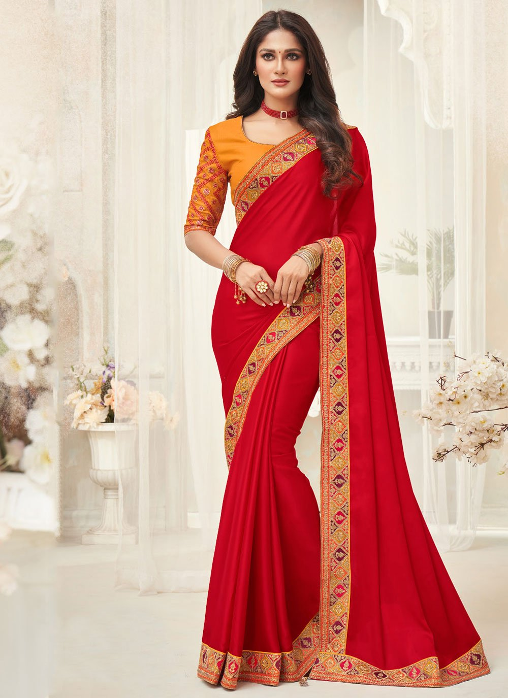 Silk Border Designer Saree