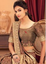 Silk Brown Designer Traditional Saree