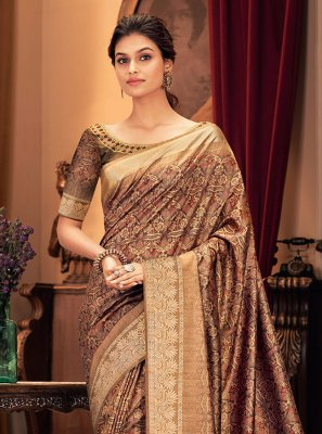 Silk Brown Designer Traditional Saree