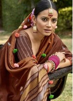 Silk Brown Printed Trendy Saree