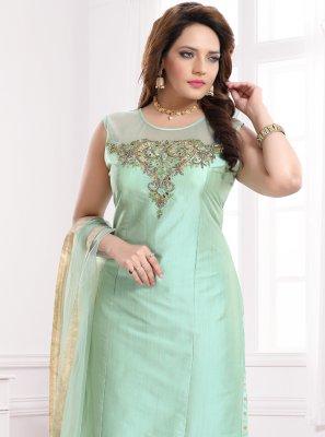 Silk Churidar Designer Suit in Sea Green