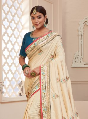 Silk Classic Designer Saree in Beige