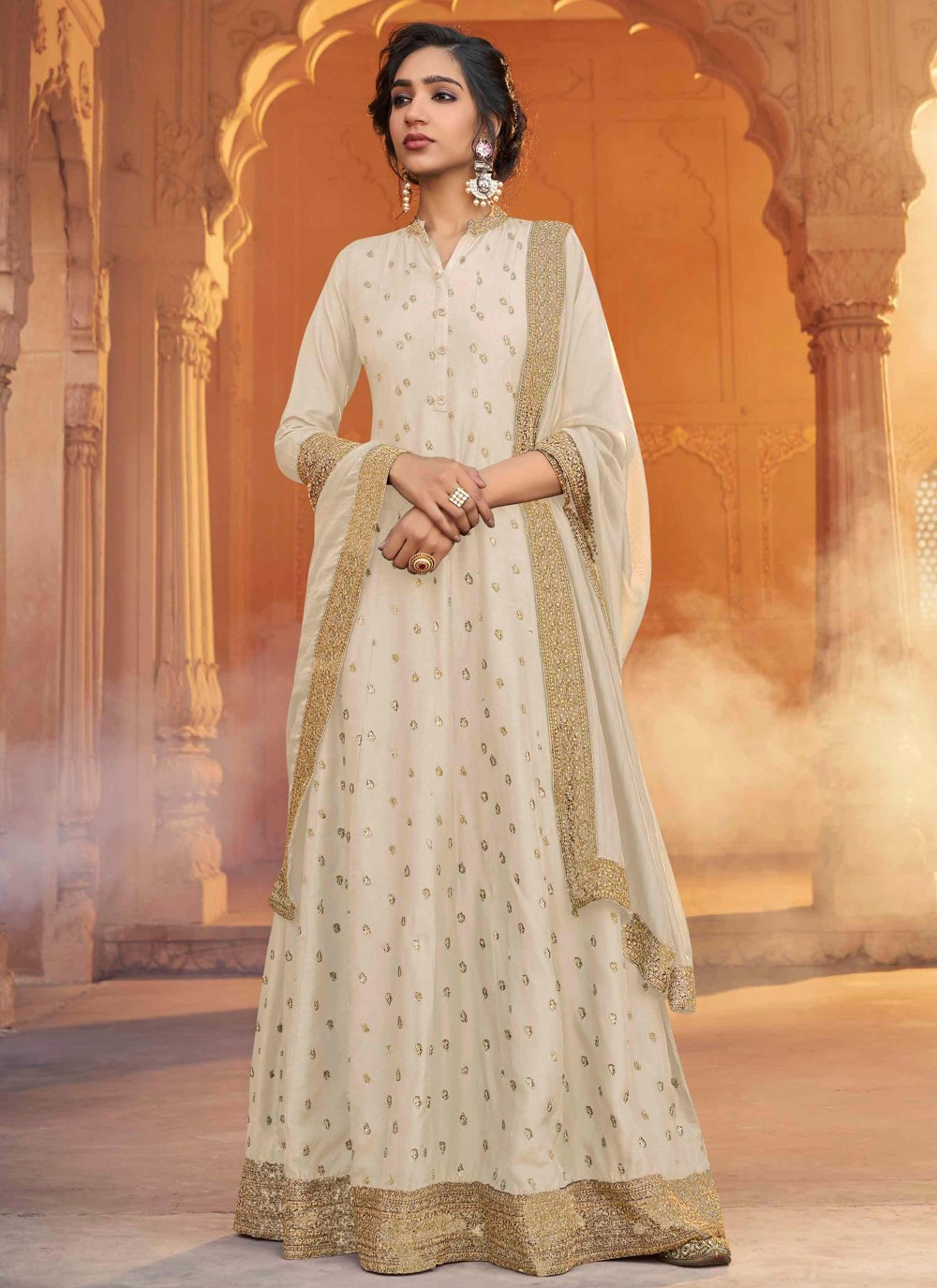 Silk Cream Designer Floor Length Salwar Suit