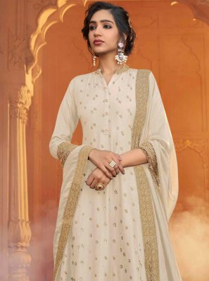 Silk Cream Designer Floor Length Salwar Suit
