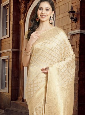 Silk Cream Fancy Designer Traditional Saree