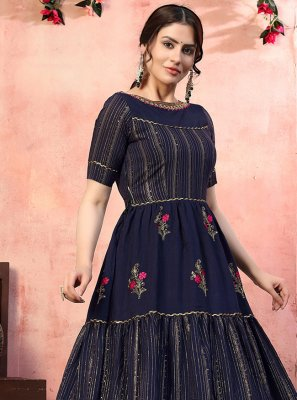 Silk Designer Gown in Navy Blue