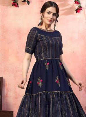 Silk Designer Gown in Navy Blue