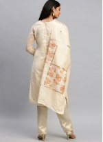 Silk Designer Pakistani Suit in Cream