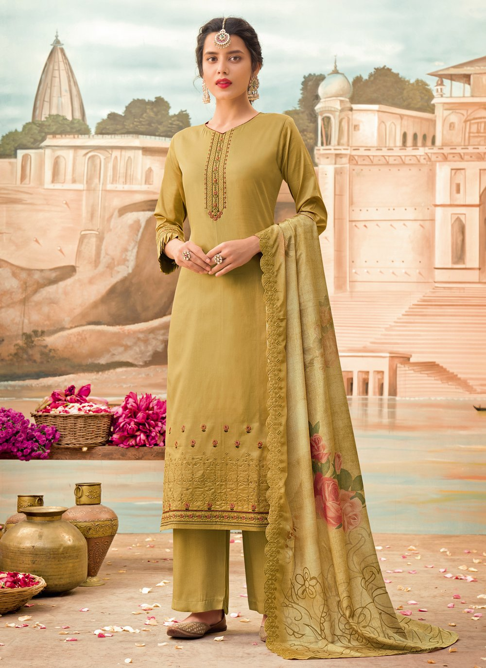 Silk Designer Pakistani Suit in Green