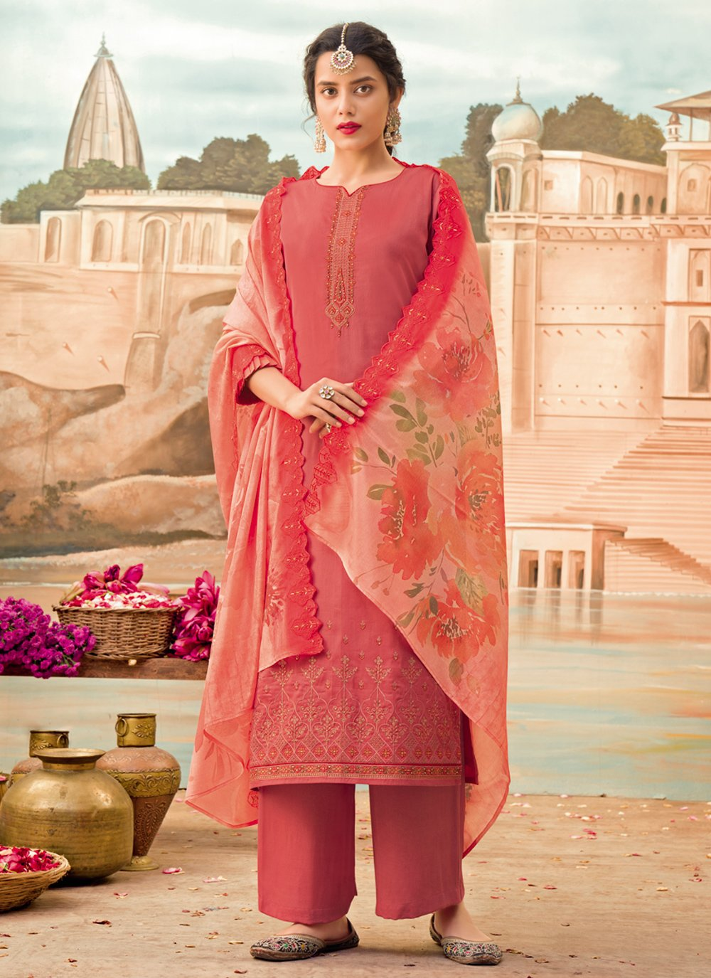 Silk Designer Pakistani Suit in Pink