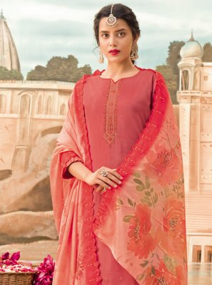 Silk Designer Pakistani Suit in Pink