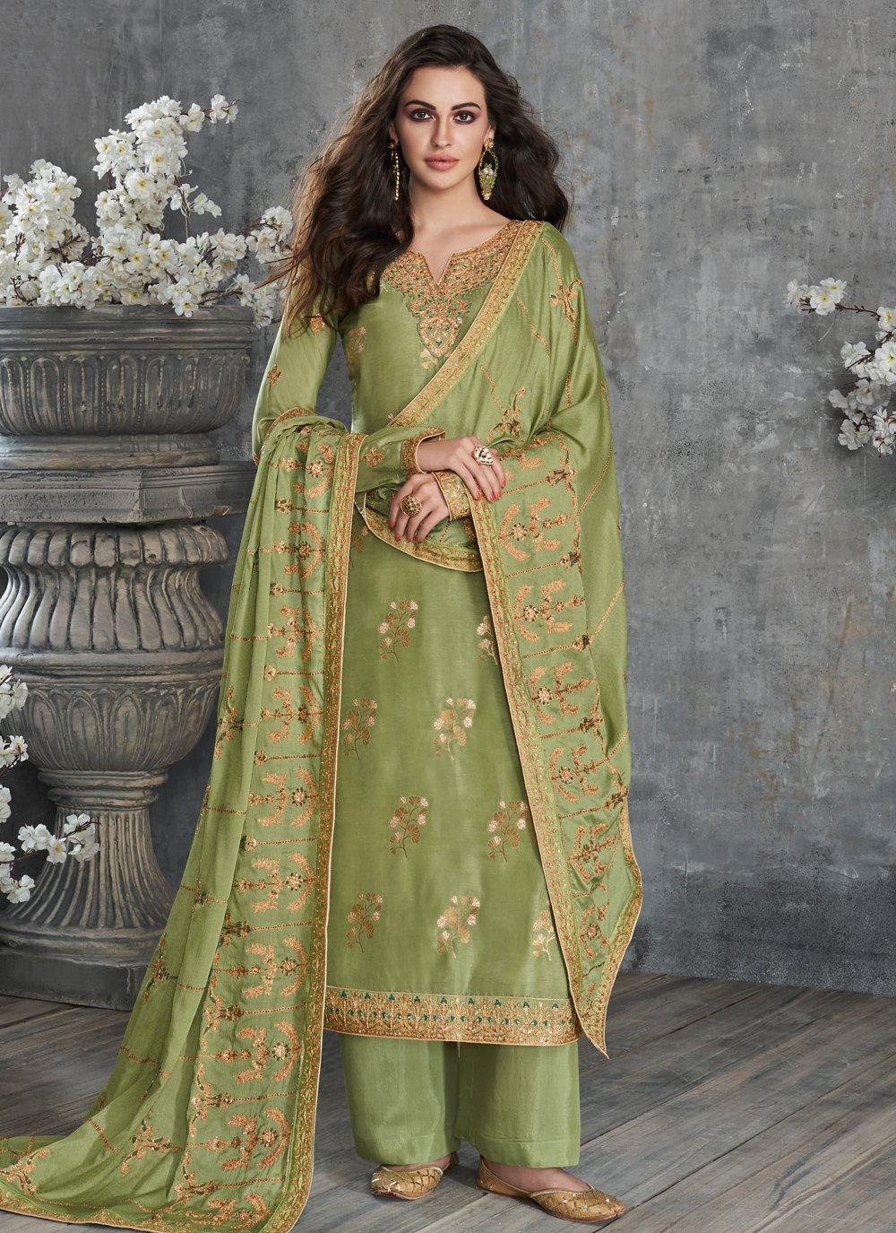 Silk Designer Palazzo Salwar Kameez in Green
