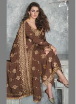 Silk Designer Palazzo Salwar Suit in Brown