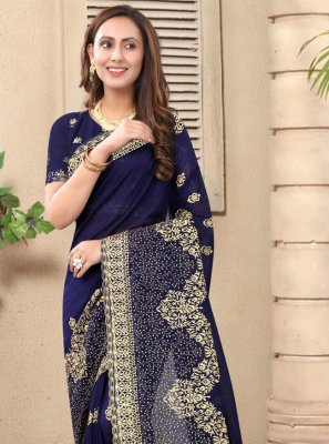 Silk Designer Saree in Navy Blue