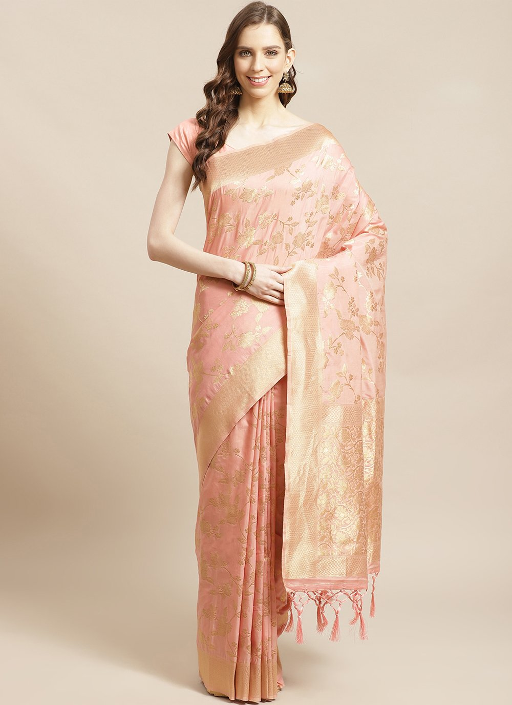 Silk Designer Saree in Peach