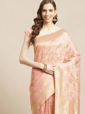 Silk Designer Saree in Peach