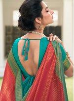 Silk Designer Saree in Rani