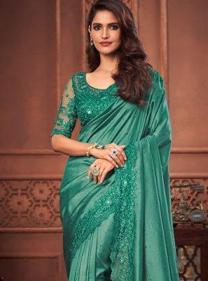 Silk Designer Saree in Sea Green