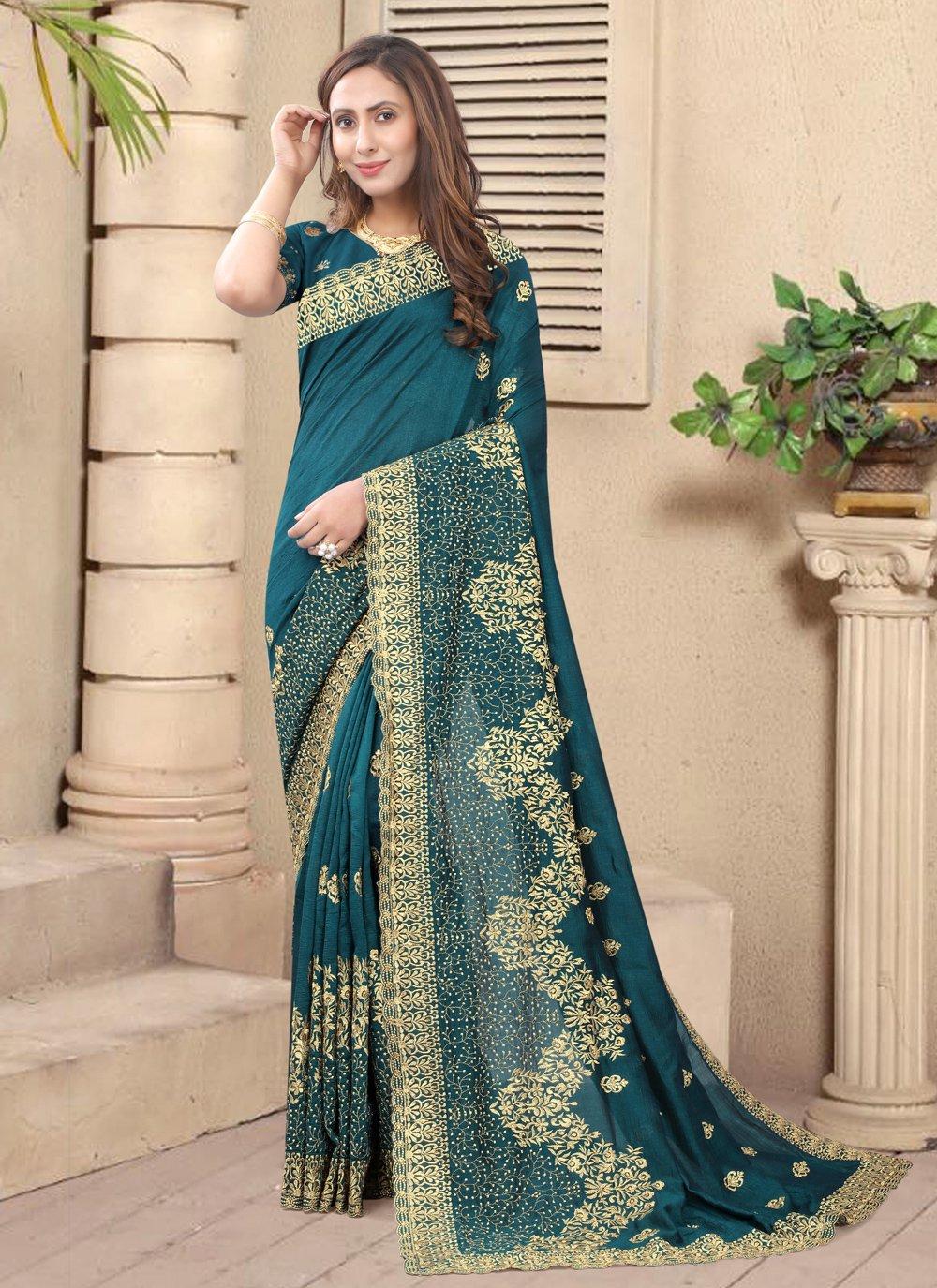 Silk Designer Saree in Teal