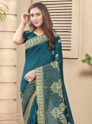 Silk Designer Saree in Teal