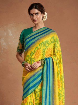Silk Designer Saree in Yellow