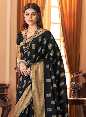 Silk Designer Traditional Saree in Black