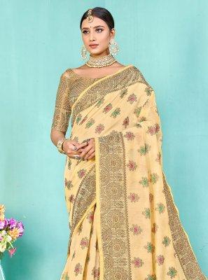 Silk Designer Traditional Saree in Cream
