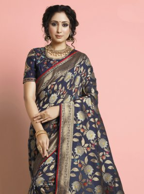Silk Designer Traditional Saree in Navy Blue