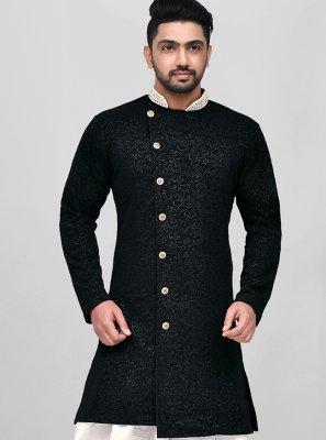 Silk Dhoti Kurta in Black